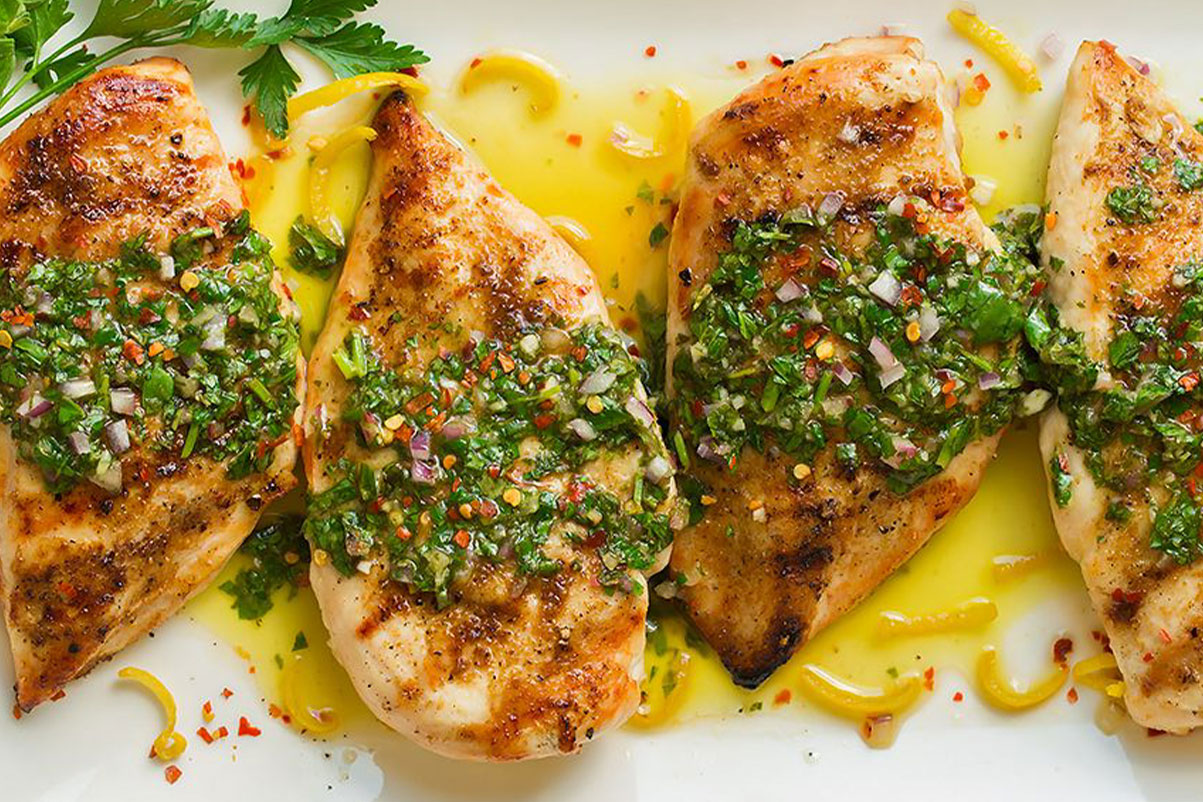 "Boneless chicken leg grilled and argentine ""chimichurri"" sauce"