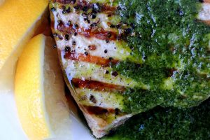 Swordfish in green sauce